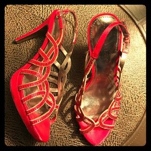 Gorgeous NWOT‼️ Satin & Sparkle Red Strappy Heel.