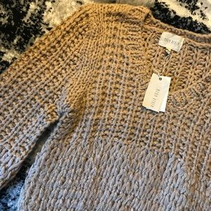 NWT chunky, comfy tan bell sleeved sweater
