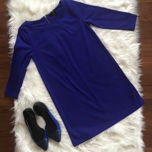 H&M Royal Blue Short Tunic Dress With Back Zipper