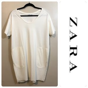 Zara W&B Collection White Shift Dress