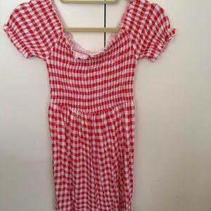 Asos off the shoulder gingham dress
