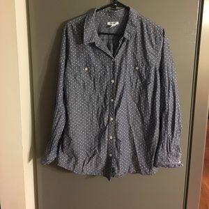 Old Navy Polka Dot Long Sleeve Button Down XL