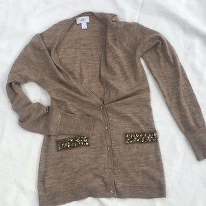 LOFT cardigan sweater light brown jeweled xs