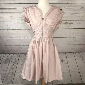 H&M Retro Ulitity Zip Up Dress Blush Pink Size 8