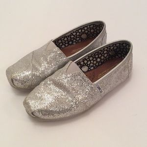 Silver Glitter Flats by Toms