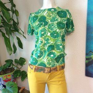 Lemon Lime Printed Knit Sweater Blouse Kitschy