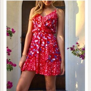 Express Red Floral Dress Size XS