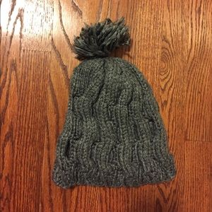 Other - Gray Women's Knitted Winter Hat with Ball on Top