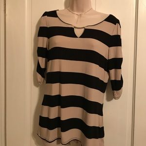 WHBM Black and Tan striped top