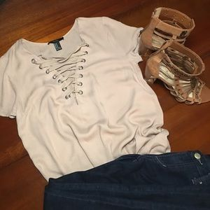 Forever 21 Peek-a-boo Laced Tan Tunic Top
