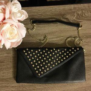 💋 Studded Black Leather Crossbody or Shoulder Bag