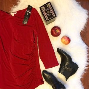 Michael Kors Red Blouse with Black Belt Shoulder
