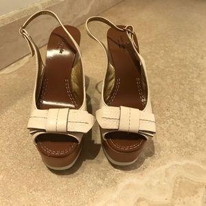 Kate Spade Bow Cream/Brown Wedges