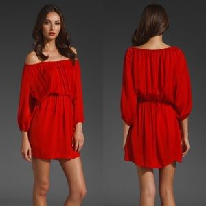 Joie Geranium Dress Off The Shoulder Gypsy Red L