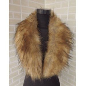Accessories - Faux Fur Collar Stole Shawl Fuzzy Brown Scarf