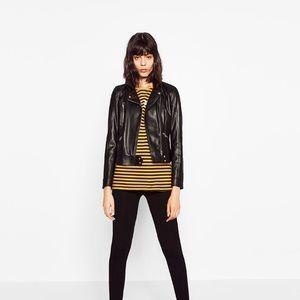 Zara faux leather biker jacket