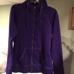 Under Armour semi-fitted purple zip up hoodie Sz L