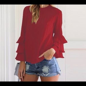 Tops - Red Elegant BoHo Blouse w/ O Neck Butterfly Sleeve
