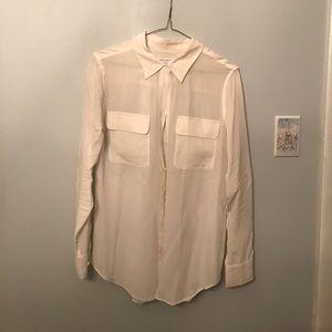 Equipment Sz S cream blouse silk