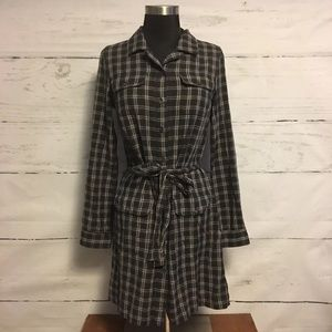 Banana Republic Women's Gray Plaid Shirt Dress