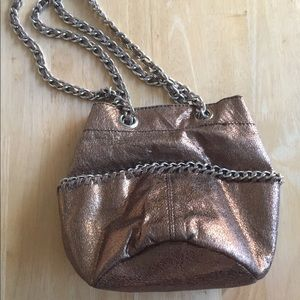 GAP Gold Metallic Moto Chain Link Crossbody/Hobo