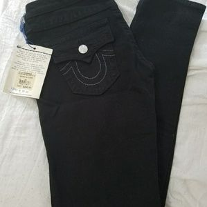 NEW True Religion distress black skinny jeans
