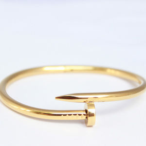 Women Stainless Steel Gold Nail Cuff LOVE Bracelet
