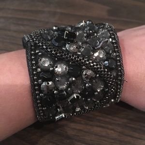Silver Black Velvet Cuff Bracelet Adjustable