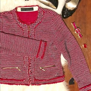 Zara Hot Pink and Blue Tweed Blazer Fringe Detail
