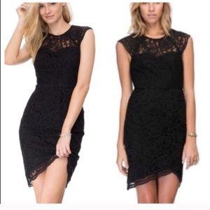 Bardot black lace dress