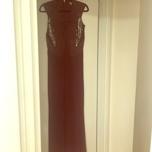 Burgundy gown with gunmetal sequin detail