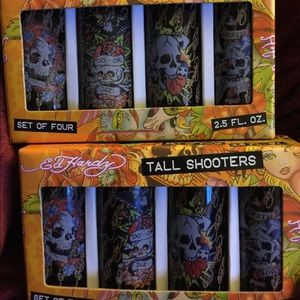 Ed Hardy Tall Shooters Shot Glasses 2-sets of 4