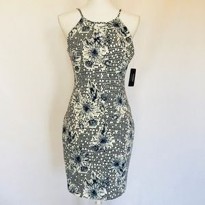 NWT Guess Floral Print Dress Navy White Size 6