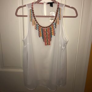 NWT - FOREVER 21 - tribal Beaded Tank - Sheer - L