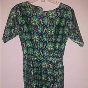 ASOS wax print like dress in green