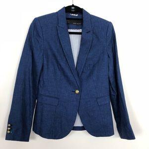Zara Women's Blue Linen Blazer