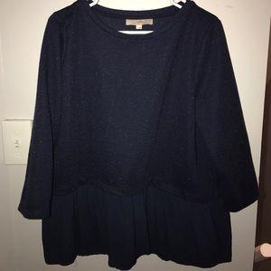 Loft Navy Sweater Blouse