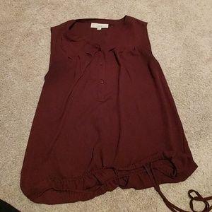 LOFT Plum colored sleeveless blouse