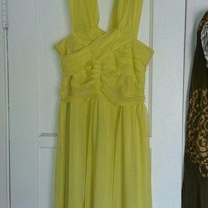 Acid yellow mesh bandage dress, fully lined,