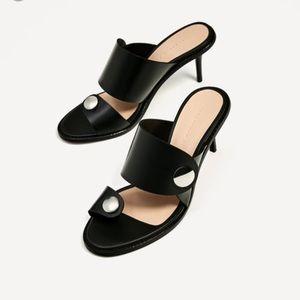 NWOT Zara Woman Medium Heel Leather Sandals