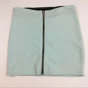 H&M Divided Light Blue Zipper Front Bodycon Skirt