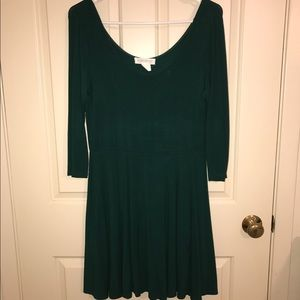 Emerald fit and flare holiday skater dress