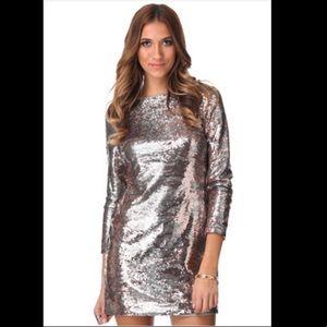 Jessica Simpson Long Sleeve Sequin Mini Dress