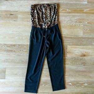Express Leopard and Black Strapless Jumper