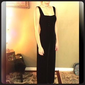 Vintage 90s Nicole Miller Blk Velvet Maxi Dress 2