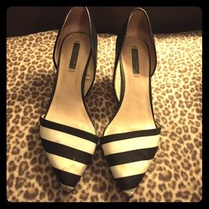 Zara Black and White D'orsay Short Heels