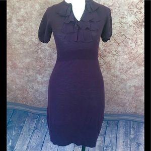 The Loft Burgundy Sweater Dress Wool Blend XSP