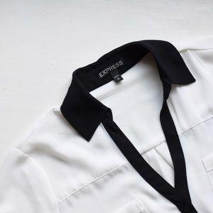 Express Black & White Button Up Blouse