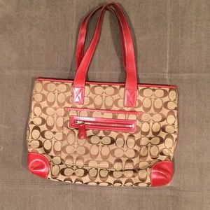 Coach Signature Kaki Bag with Red Leather Trim