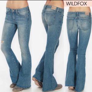 Wildfox Joni mid Rise distressed Flare jeans